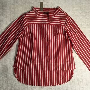 JCrew Red Stripe Hi Low Blouse, 6, NWT